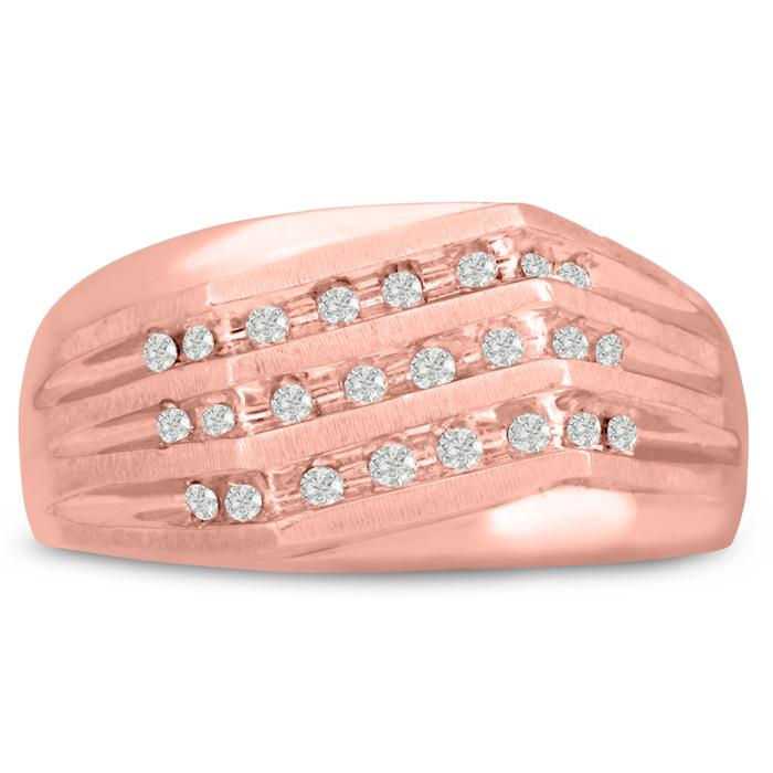 Mens 1/4 Carat Diamond Wedding Band in 10K Rose Gold, G-H, I2-I3, 10.26mm Wide by SuperJeweler