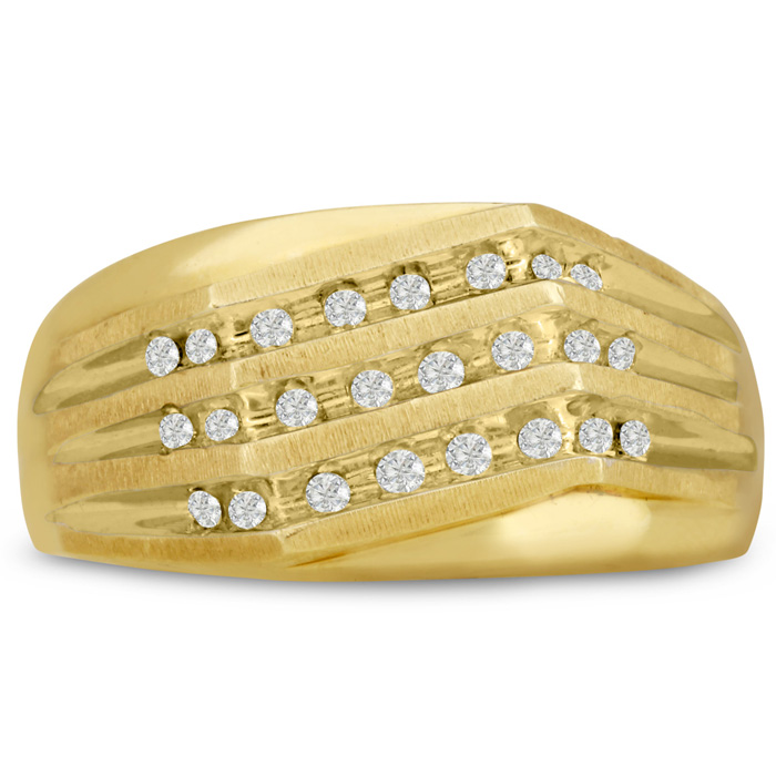 Mens 1/4 Carat Diamond Wedding Band in 10K Yellow Gold, G-H, I2-I3, 10.26mm Wide by SuperJeweler