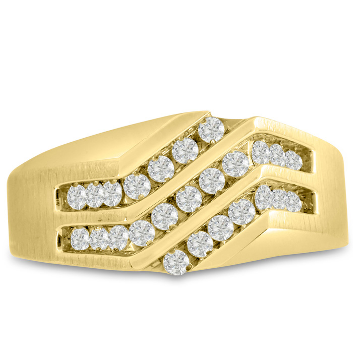 Mens 1/2 Carat Diamond Wedding Band in 10K Yellow Gold, I-J-K, I1