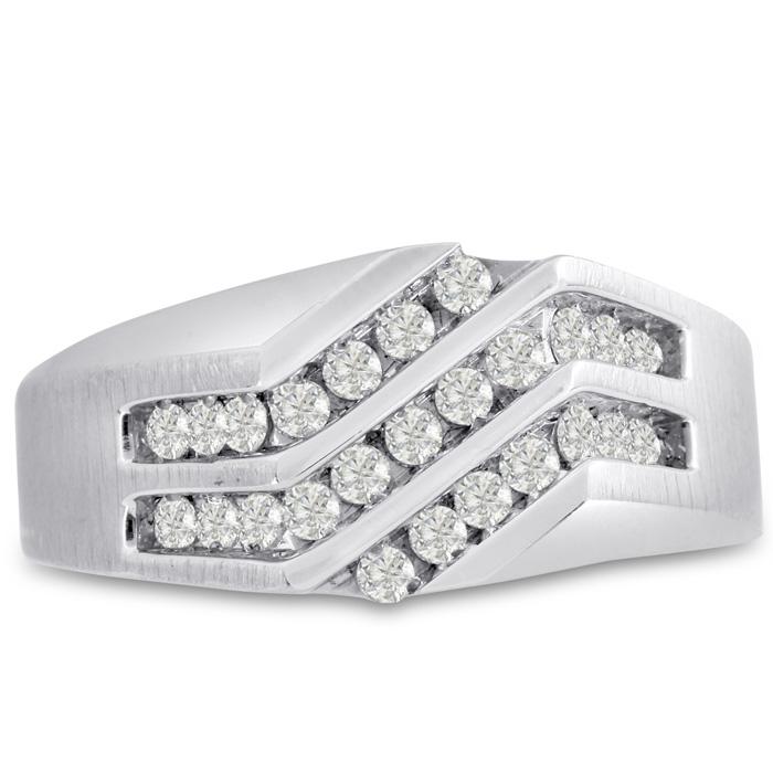 Mens 1/2 Carat Diamond Wedding Band in 14K White Gold, G-H, I2-I3