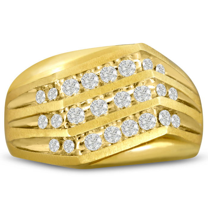 Mens 1 Carat Diamond Wedding Band in 10K Yellow Gold, G-H, I2-I3, 13.64mm Wide by SuperJeweler