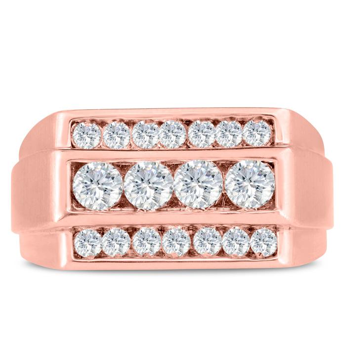 Mens 1 Carat Diamond Wedding Band in 10K Rose Gold, G-H, I2-I3, 11.06mm Wide by SuperJeweler