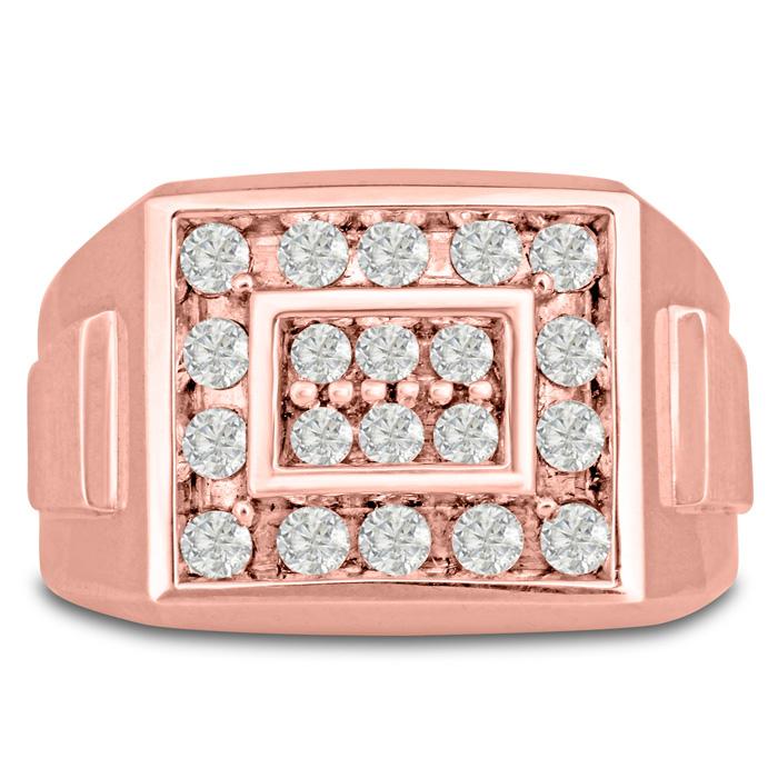 Mens 1 Carat Diamond Wedding Band in 10K Rose Gold, G-H, I2-I3, 14.78mm Wide by SuperJeweler
