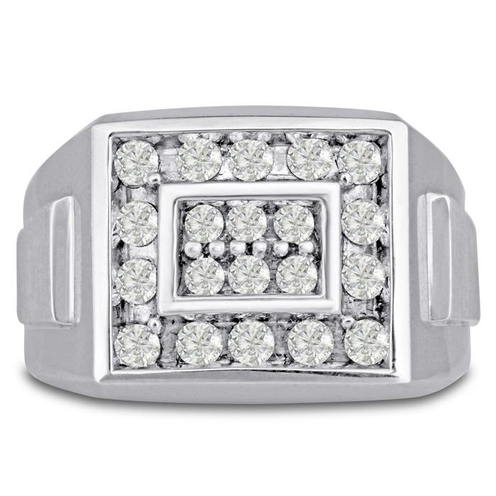 Mens 1 Carat Diamond Wedding Band in 10K White Gold, I-J-K, I1-I2, 14.78mm Wide by SuperJeweler