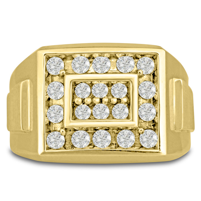 Men's 1 Carat Diamond Wedding Band in Yellow Gold