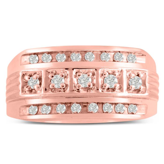 Mens 4/10 Carat Diamond Wedding Band in 10K Rose Gold, I-J-K, I1-I2, 11.03mm Wide by SuperJeweler