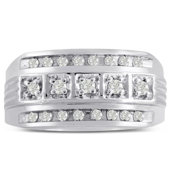 Mens 4/10 Carat Diamond Wedding Band in 10K White Gold, G-H, I2-I