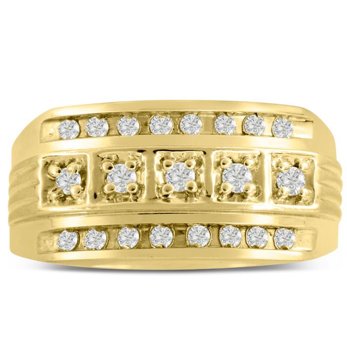 Mens 4/10 Carat Diamond Wedding Band in 10K Yellow Gold, G-H, I2-
