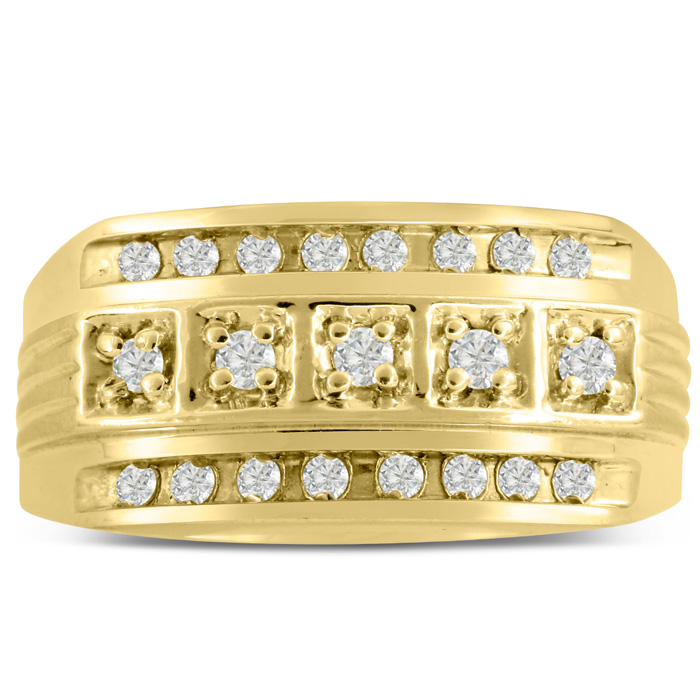 Mens 4/10 Carat Diamond Wedding Band in 10K Yellow Gold, I-J-K, I