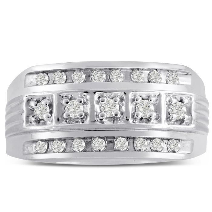 Mens 4/10 Carat Diamond Wedding Band in 14K White Gold, G-H, I2-I
