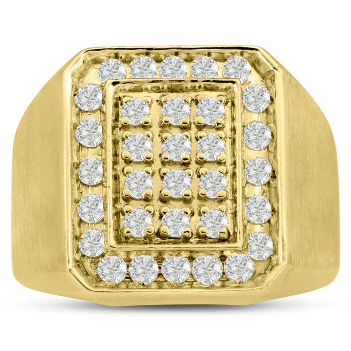 Mens 1 Carat Diamond Wedding Band in 10K Yellow Gold, I-J-K, I1-I