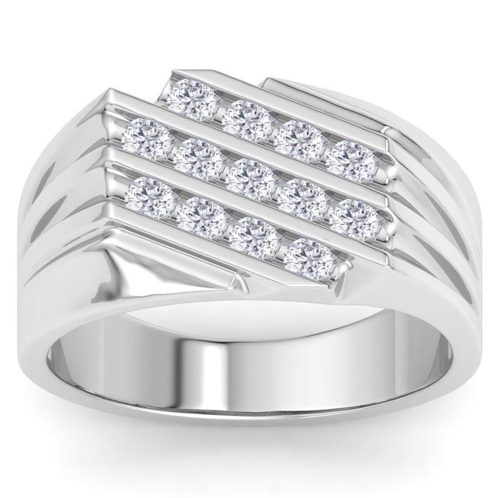 Mens 1/2 Carat Diamond Wedding Band in 10K White Gold, I-J-K, I1-