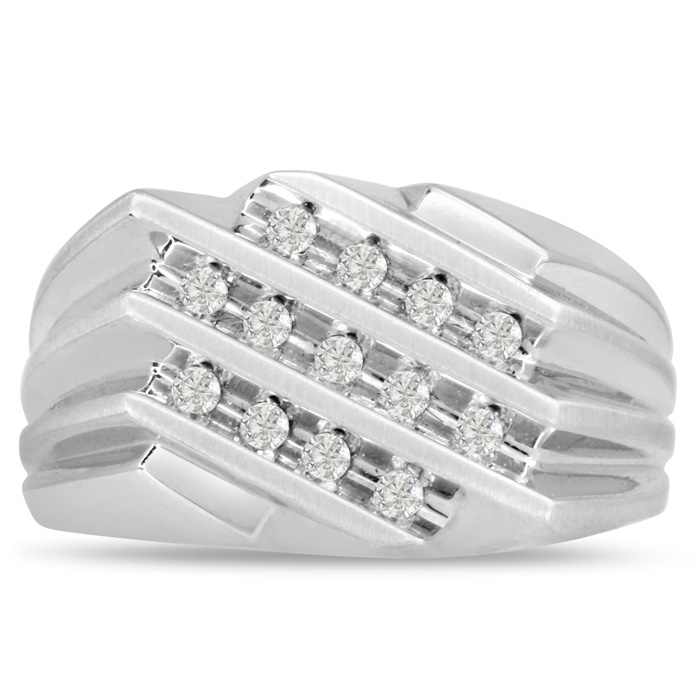 Mens 1/2 Carat Diamond Wedding Band in 14K White Gold, I-J-K, I1-I2, 11.87mm Wide by SuperJeweler