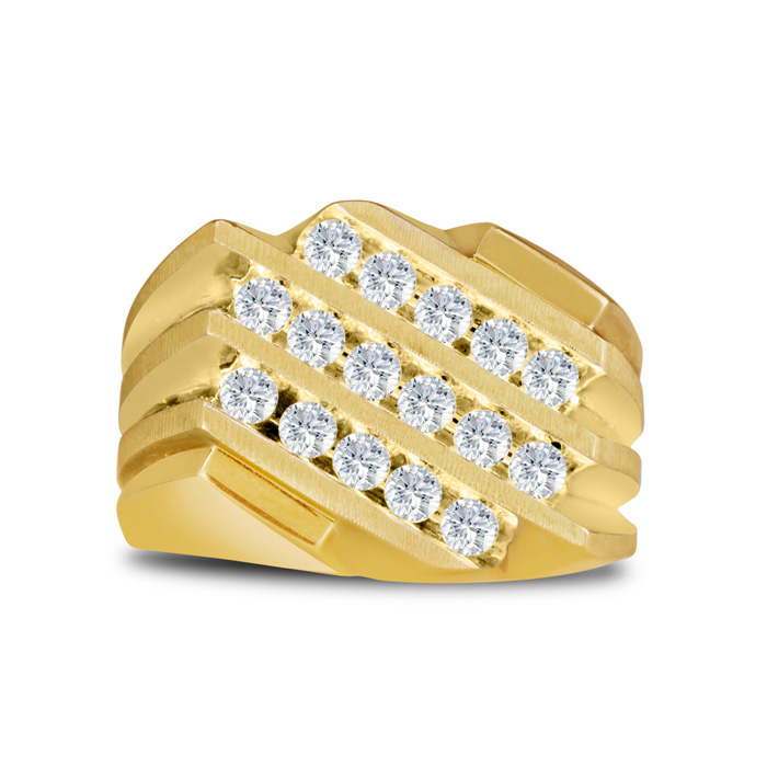 Mens 1 Carat Diamond Wedding Band in 10K Yellow Gold, I-J-K, I1-I