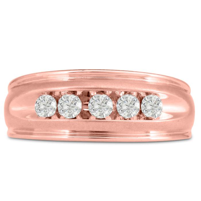 Mens 1/2 Carat Diamond Wedding Band in 10K Rose Gold, I-J-K, I1-I2, 8.68mm Wide by SuperJeweler