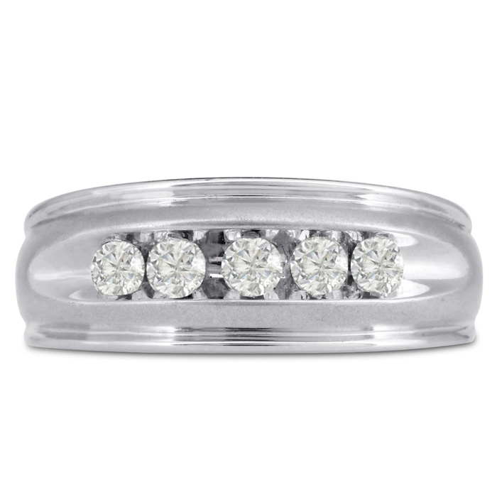 Mens 1/2 Carat Diamond Wedding Band in 10K White Gold, I-J-K, I1-