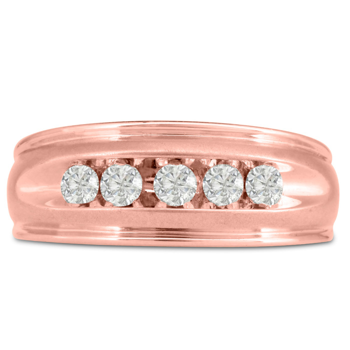Mens 1/2 Carat Diamond Wedding Band in 14K Rose Gold, I-J-K, I1-I2, 8.68mm Wide by SuperJeweler