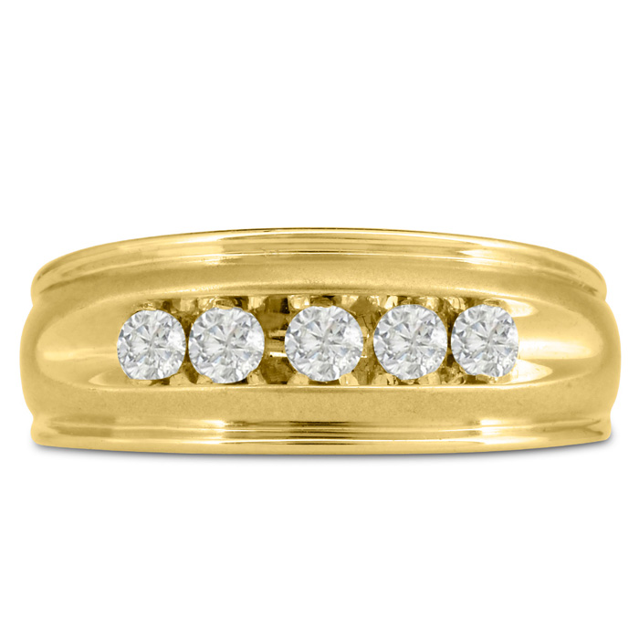 Mens 1/2 Carat Diamond Wedding Band in 14K Yellow Gold, G-H, I2-I3, 8.68mm Wide by SuperJeweler