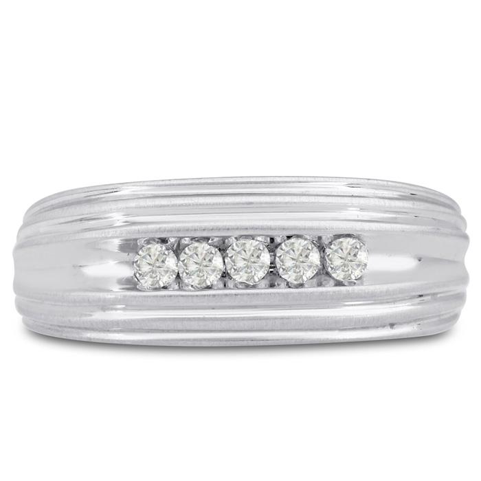 Mens 1/4 Carat Diamond Wedding Band in 14K White Gold, G-H, I2-I3