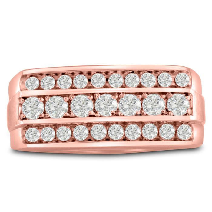 Mens 1 Carat Diamond Wedding Band in 10K Rose Gold, I-J-K, I1-I2, 10.03mm Wide by SuperJeweler