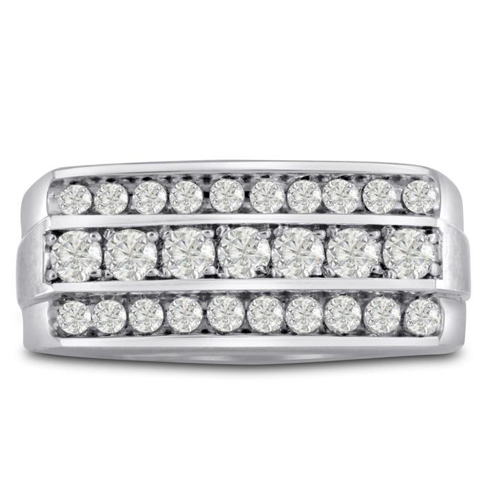 Men's 1 Carat Diamond Wedding Band in 14K White Gold