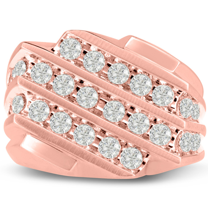 Mens 1.25 Carat Diamond Wedding Band in 14K Rose Gold, I-J-K, I1-
