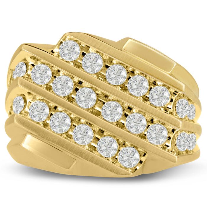 Mens 1.25 Carat Diamond Wedding Band in 14K Yellow Gold, G-H, I2-