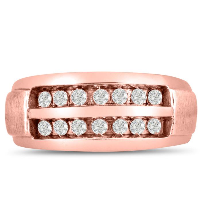 Mens 1/2 Carat Diamond Wedding Band in 14K Rose Gold, I-J-K, I1-I2, 9.44mm Wide by SuperJeweler