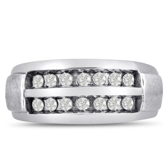 Mens 1/2 Carat Diamond Wedding Band in 14K White Gold, G-H, I2-I3, 9.44mm Wide by SuperJeweler