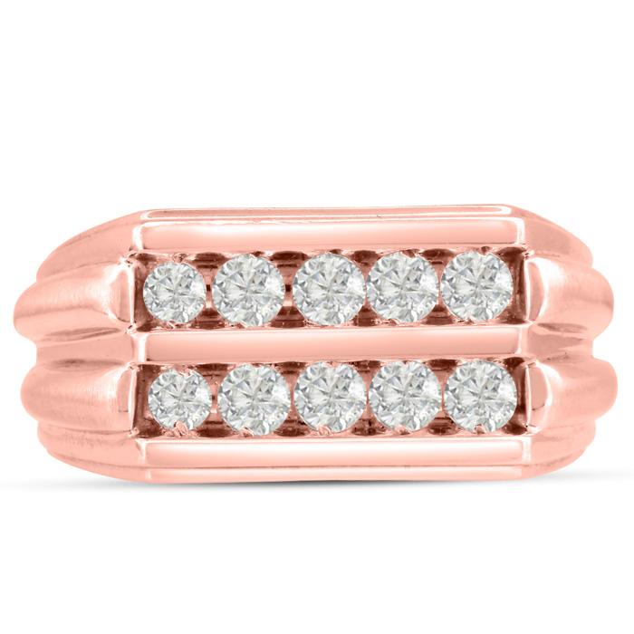 Mens 1 Carat Diamond Wedding Band in 14K Rose Gold, I-J-K, I1-I2, 11.17mm Wide by SuperJeweler