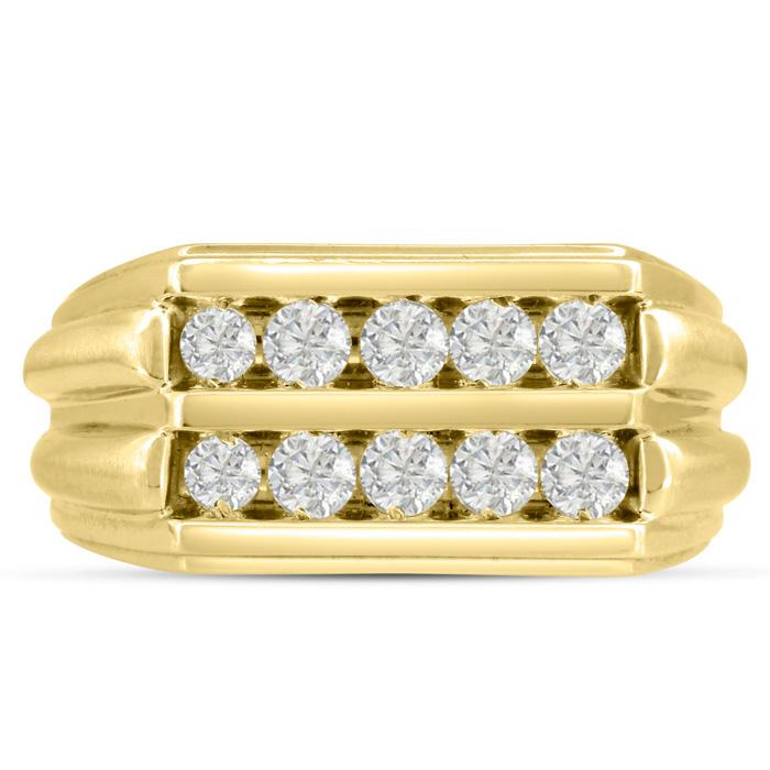 Men's 1 Carat Diamond Wedding Band in 14K Yellow Gold