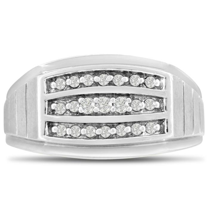 Mens 1/4 Carat Diamond Wedding Band in 10K White Gold, G-H, I2-I3, 11.24mm Wide by SuperJeweler