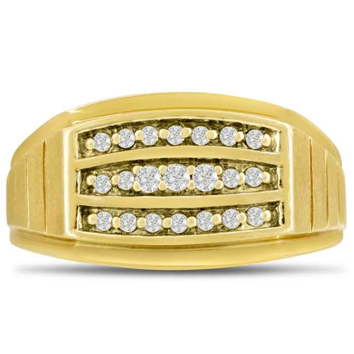 Mens 1/4 Carat Diamond Wedding Band in 10K Yellow Gold, I-J-K, I1-I2, 11.24mm Wide by SuperJeweler