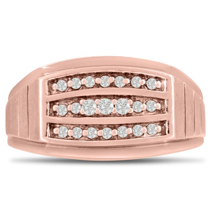 Mens 1/4 Carat Diamond Wedding Band in 14K Rose Gold, G-H, I2-I3, 11.24mm Wide by SuperJeweler