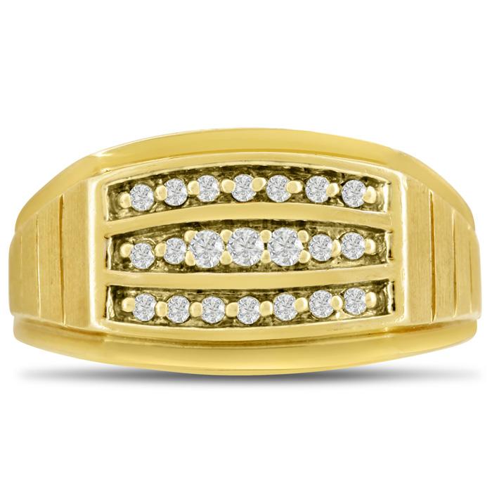 Mens 1/4 Carat Diamond Wedding Band in 14K Yellow Gold, I-J-K, I1-I2, 11.24mm Wide by SuperJeweler