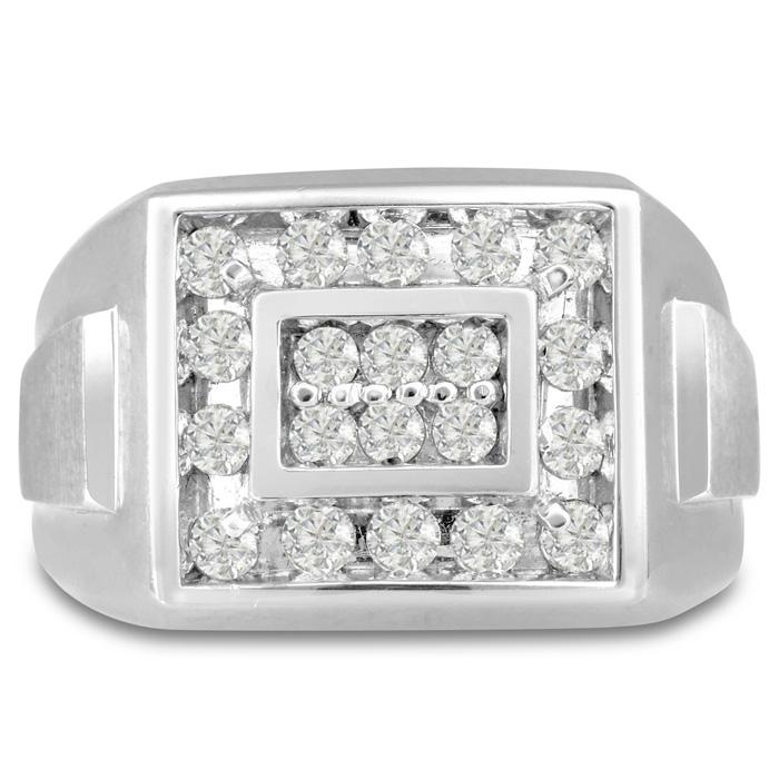 Mens 1 Carat Diamond Wedding Band in 10K White Gold, G-H, I2-I3, 14.66mm Wide by SuperJeweler