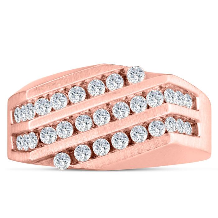 Men's 1/10 Carat Diamond Wedding Band in Rose Gold