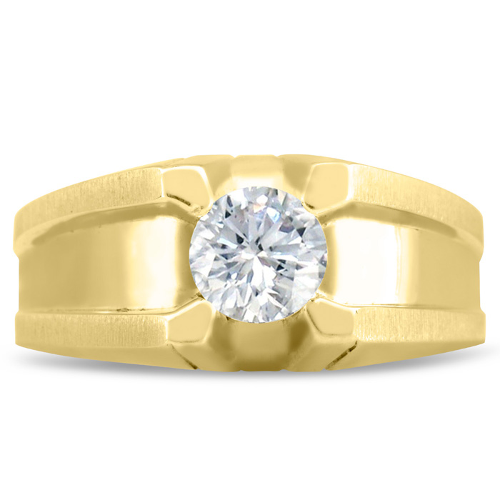Mens 1/2 Carat Diamond Wedding Band in 14K Yellow Gold, I-J-K, I1-I2, 10.37mm Wide by SuperJeweler