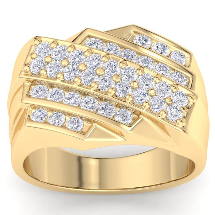 Mens 1 Carat Diamond Wedding Band in 10K Yellow Gold, G-H, I2-I3,