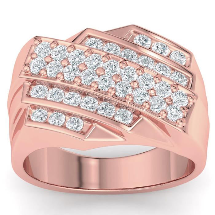 Mens 1 Carat Diamond Wedding Band in 14K Rose Gold, G-H, I2-I3, 13.85mm Wide by SuperJeweler