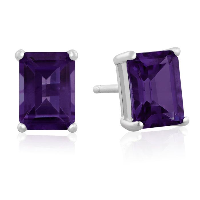 White Gold Natural Crystal Studs for Self-Care and Advanced Thinking Raw Amethyst Earrings February Birthstone Earrings for Men and Women
