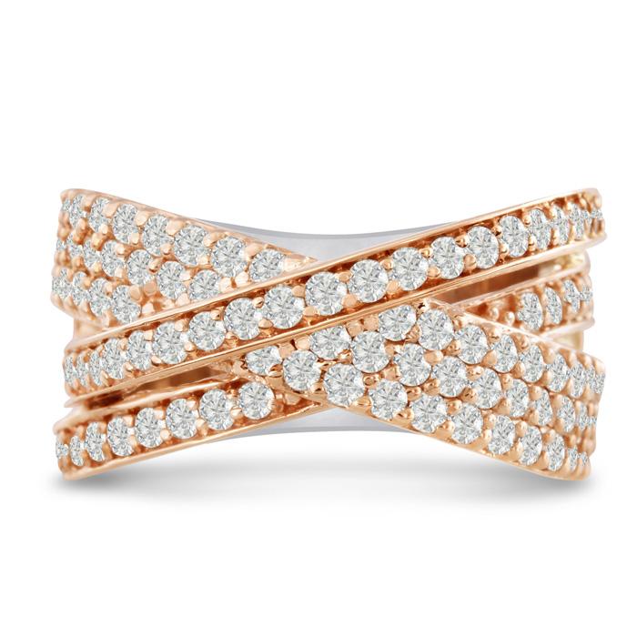 1 3/4 Carat Five Row Criss Cross Diamond Ring in 14K Two-Tone Ros