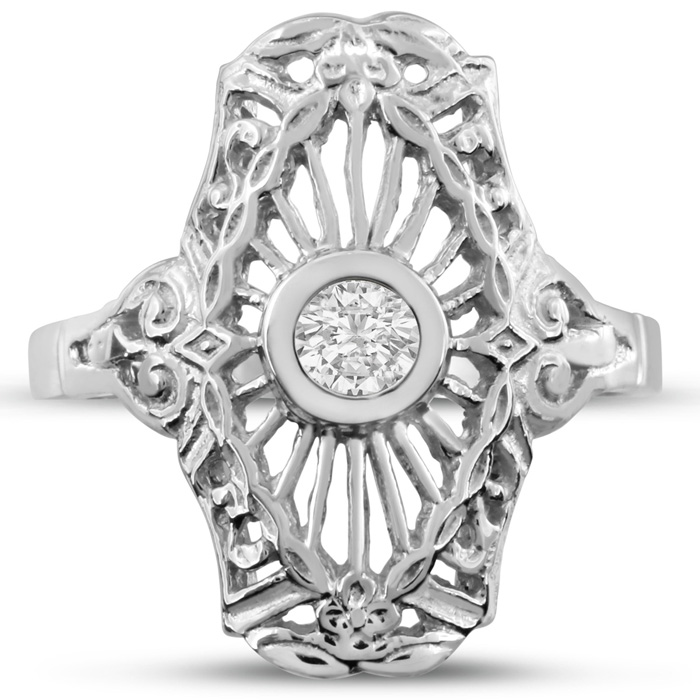 1/10 Carat Cathedral Diamond Ring in 14K White Gold (H-I, SI2-I1) by SuperJeweler