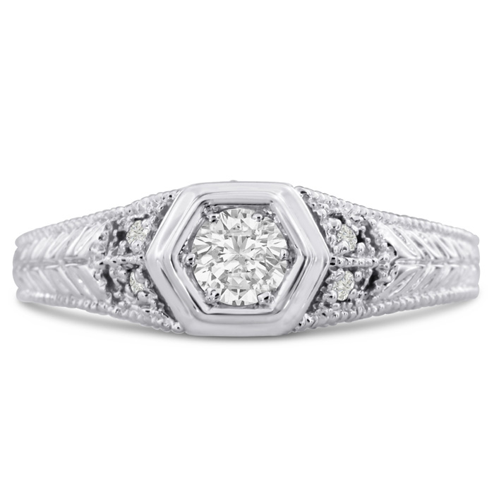 Antique 1/3 Carat Diamond Engagement Ring in 14K White Gold (H-I, SI2-I1) by SuperJeweler