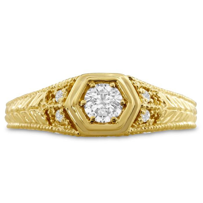 Antique 1/3 Carat Diamond Engagement Ring in 14K Yellow Gold (H-I