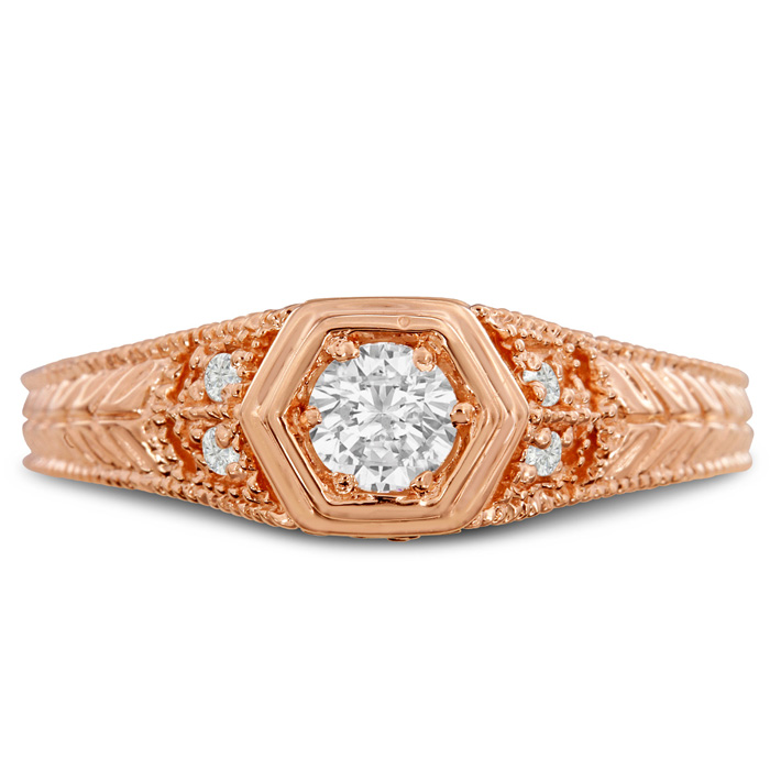 Antique 1/3 Carat Diamond Engagement Ring in 14K Rose Gold (H-I,