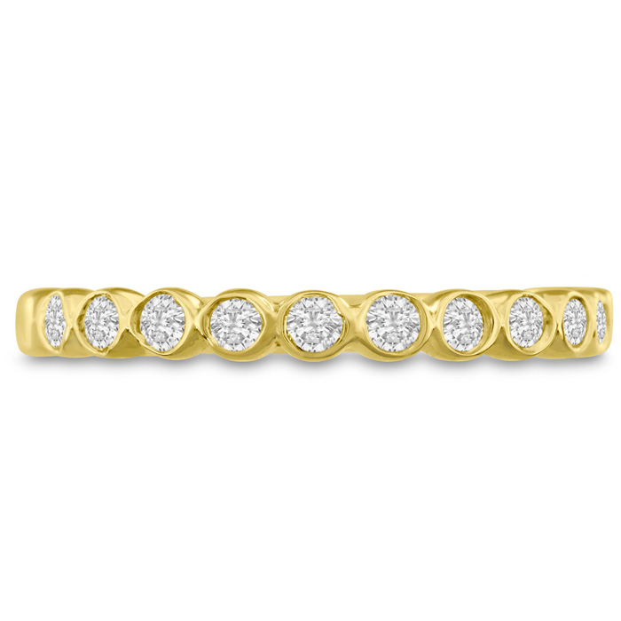 14K Yellow Gold 1/4 Carat Bezel Set Diamond Eternity Wedding Band