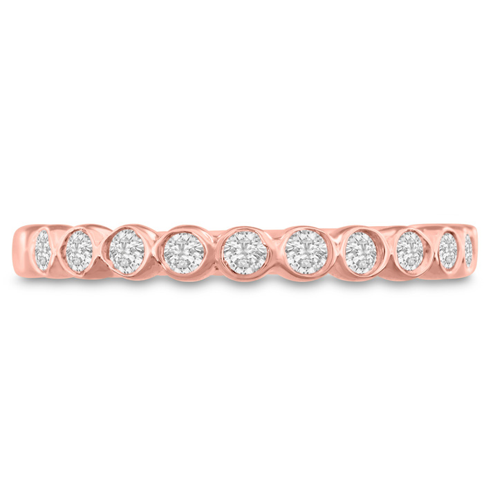 1/4 Carat Bezel Set Diamond Wedding Band in 14K Rose Gold, G/H by SuperJeweler