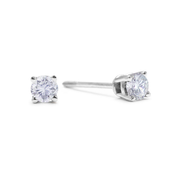 1/10 Carat Diamond Stud Earrings in 14k White Gold w/ screw back