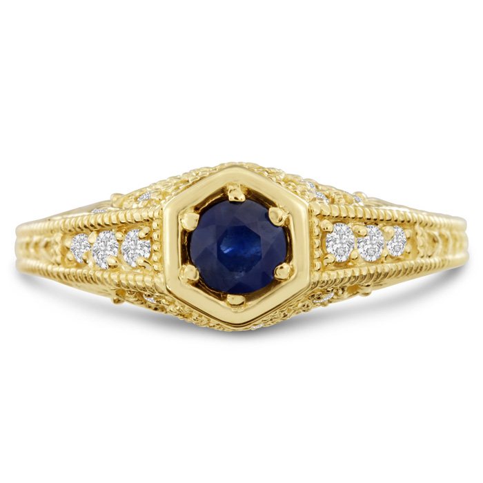 Antique 3/4 Carat Sapphire & Diamond Engagement Ring in 14K Yello